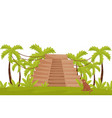 tropical landscape with ancient pyramid monkey vector image