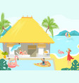 vacationers at sea beach bungalow people vector image vector image