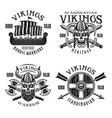 vikings warriors emblems labels badges vector image vector image