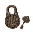 vintage padlock and key secret or mystery vector image