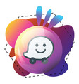 waze logo design inside multicolor graphics icon vector image vector image