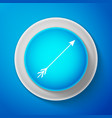 white hipster arrow icon on blue background vector image
