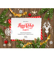 wooden holiday card vector image vector image