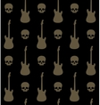seamless background with skulls and guitars vector image