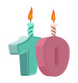 10 years birthday number with festive candle for vector image vector image