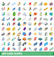 100 care icons set isometric 3d style vector image vector image