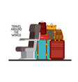 airplane chair with pile suitcases vector image vector image
