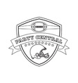American Football Helmet Shield Line Drawing vector image