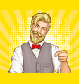 attractive hipster man portrait cartoon vector image vector image
