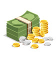 banknote and gold coins with silver coins isolate vector image