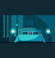 bedroom interior at night with furniture vector image
