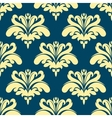 Blue and yellow damask seamless pattern vector image vector image