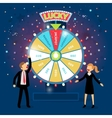 Business people with financial wheel of fortune vector image