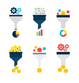 Business Sales Funnel Flat Objects Set isolated vector image
