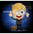 businessman with magnifying glass search for job vector image vector image