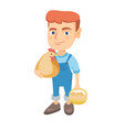 caucasian boy holding a chicken and hen eggs vector image vector image