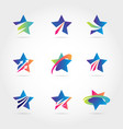 colorful blue star logo symbol icon collection vector image