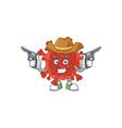 cool cowboy cartoon red corona virus holding guns vector image vector image