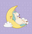 cute fairytale unicorn relaxing in the moon vector image vector image