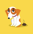 cute jack russell terrier pooping funny pet vector image