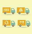 delivery trucks set of icons vector image vector image
