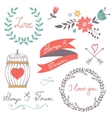 Elegant collection of romantic graphic elements vector image vector image