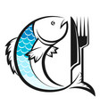 fish with knife and fork silhouette vector image vector image