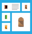flat icon door set of wooden fence frame vector image vector image