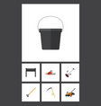 flat icon farm set of pail grass-cutter cutter vector image vector image