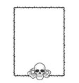 frame of thorns with two roses and a skull on its vector image vector image