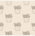 french fries hand drawn sketch on beige vector image