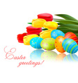 fresh spring flowers with easter eggs vector image vector image