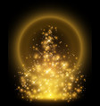 golden particles rising up to dark background vector image vector image