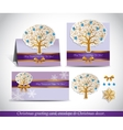 Greeting cards with golden ornate winter tree vector image