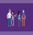 group of friends standing together - modern flat vector image vector image