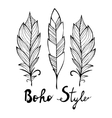 Hand drawn bird black feathers isolated on white vector image vector image