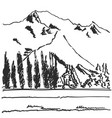 hand drawn black and white mountain landscape vector image vector image