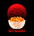 happy halloween bowl and candy corn moon and bat vector image vector image