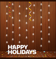 happy holidays greeting card lighting garland vector image vector image
