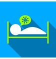 Infected Patient Bed Flat Long Shadow Square Icon vector image