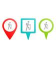 mountain man travel pin icon multicolor pin vector image vector image