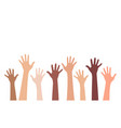 multi-ethnic and diverse hands raised up vector image vector image
