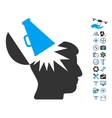 Open Brain Megaphone Icon With Air Drone Tools vector image vector image