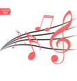 red musical notes in flowing design of elements vector image vector image