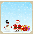 Santa Claus and snowman with gifts vector image vector image