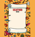 seafood restaurant menu in cartoon style vector image