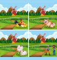 set farmland with animal and farmer vector image vector image