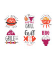 set logos for grill and barbecue bar vector image vector image