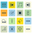 set of 16 music icons includes octave mike mute vector image vector image