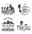 set of extreme adventure badges mountains related vector image
